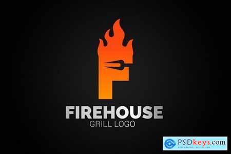 Letter F Fire Grill Logo