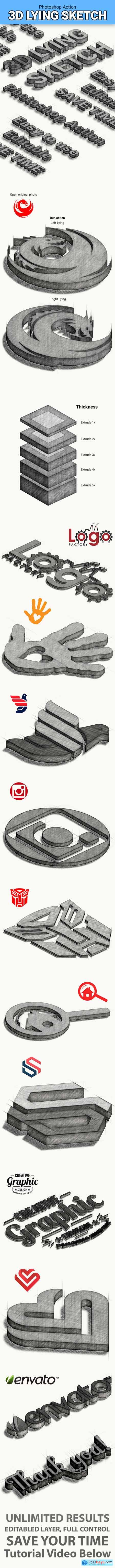 3D Lying Sketch 25287808