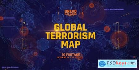 Videohive Global Terrorism Map 4K-Politics and Economic Presentations- World Terror Infographic- Bomb & Weapon 21486167