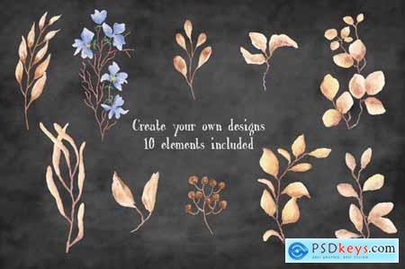 Autumn n Blue Watercolor Clip Art