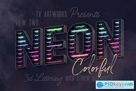 Colorful Neon 3D Lettering View 2