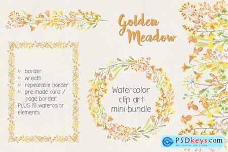 Golden Meadow Watercolor Clip Art Mini Bundle