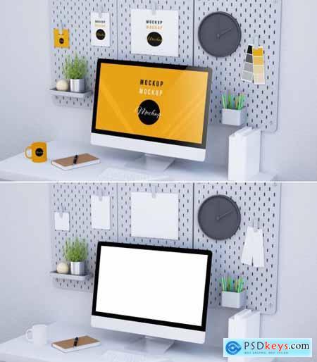 Desktop Computer on a Desk with a Pegboard Mockup 314557963