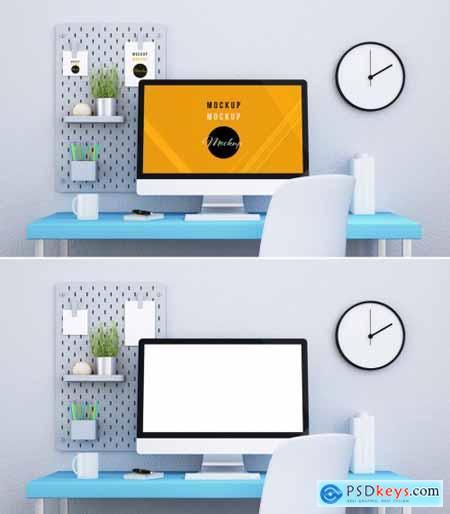 Desktop Computer on a Blue Desk Mockup 314540254