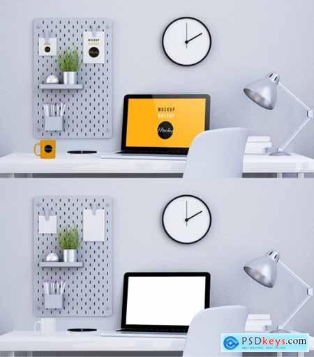 Desktop Computer on a Desk with a Pegboard Mockup 314557949