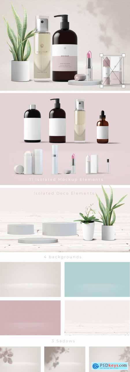 Cosmetic Products and Plants Mockup 314542787