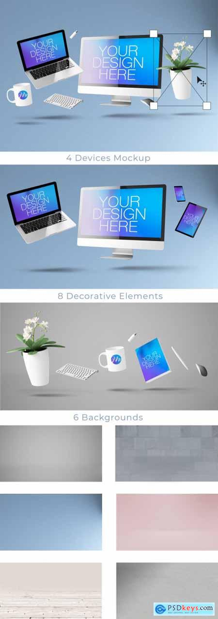 Floating Computer and Mobile Devices Mockup 314540936