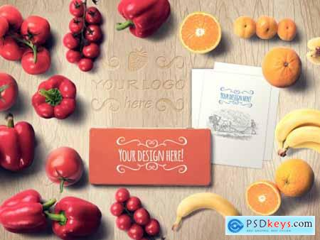 Fruits and Vegetables with Metal Box Mockup 310722595