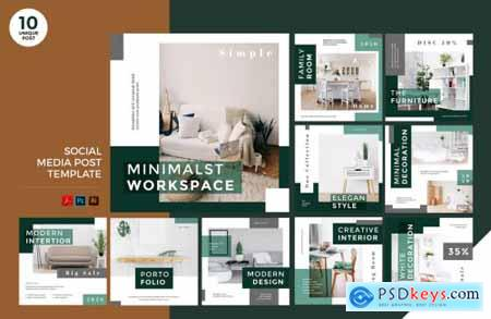 Office Design Social Media Kit PSD & AI Template