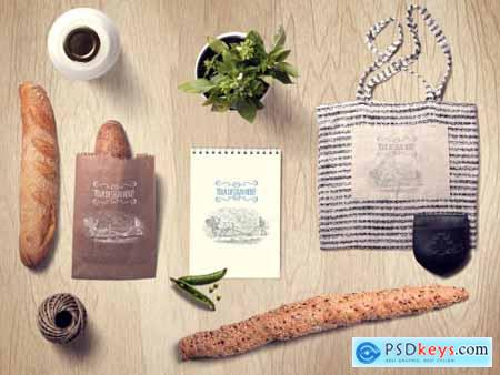 Organic Food Baguette and Tote Bag Mockup 310722734