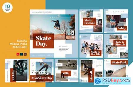 Urban Skateboarding Social Media Kit PSD & AI