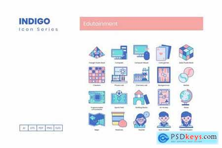 95 Edutainment Icons - Indigo Series