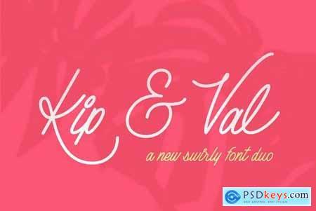 Kip & Val Script Font Duo 4469381