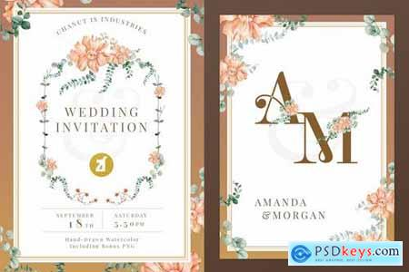 Floral Hand-drawn Watercolor Wedding Invitation