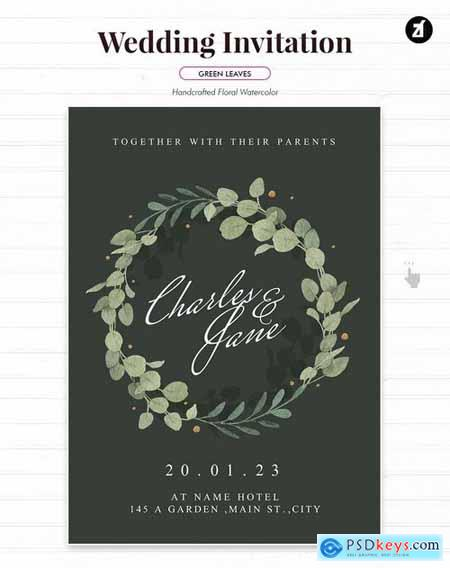 Floral Hand-drawn Watercolor Wedding Invitation 2