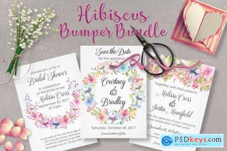 Hibiscus Bundle Pastel Handpainted Watercolors