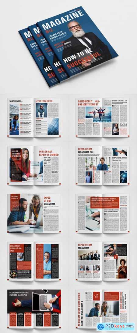 Business Magazine Layout with Red Accents 315188788