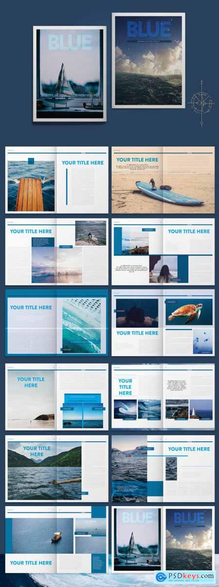 Blue Magazine Layout with Graphic Accents 265505616