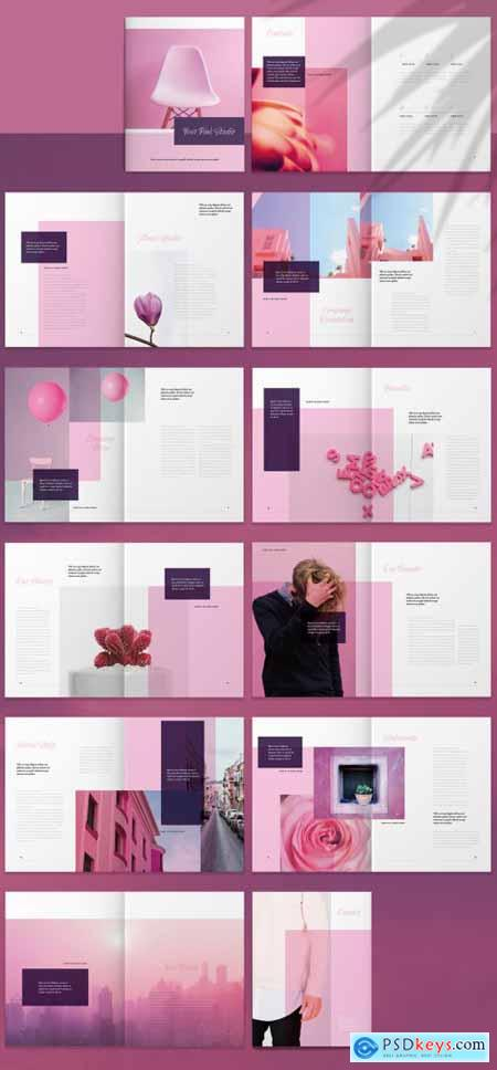 Brochure Layout with Pink Accents 265515678