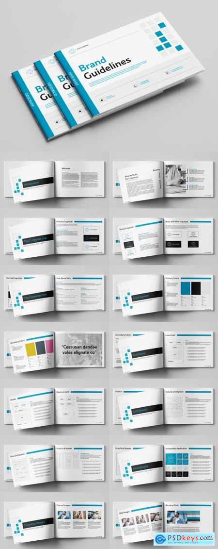 Brand Guidelines Booklet with Blue Accents 259579112