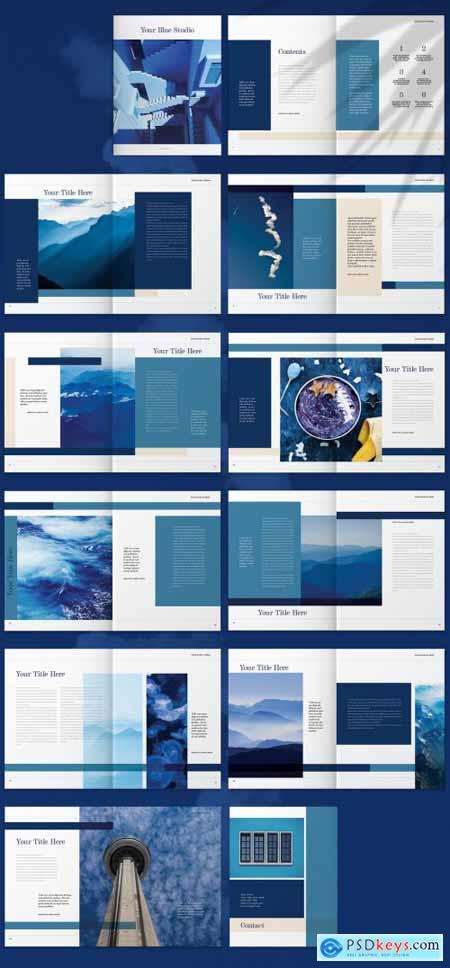 Brochure Layout with Blue Accents 265515671