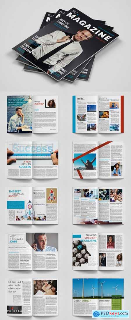 Business Magazine Layout with Blue and Red Accents 252070079