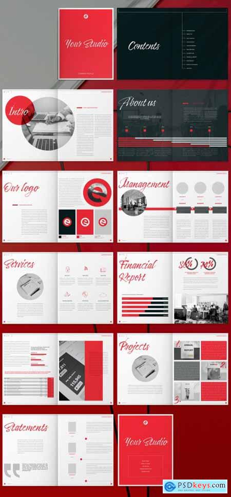 Brochure Layout with Red and Black Accents 265507646