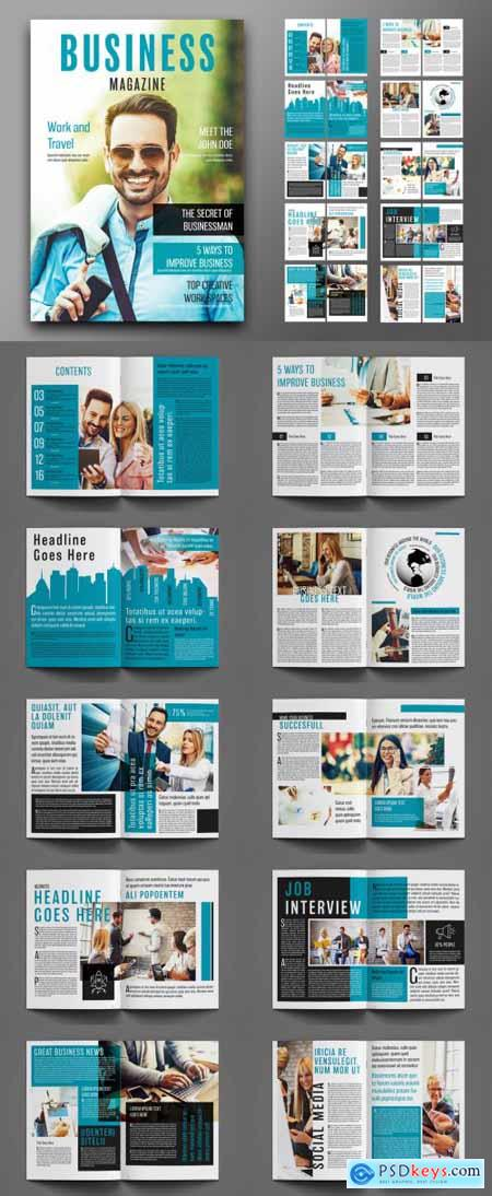 Business Magazine Layout with Teal Accents 241788795