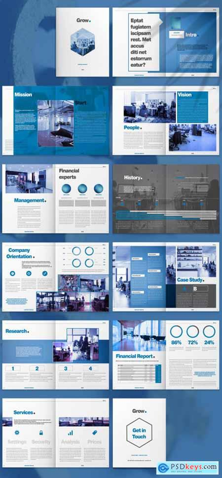 Brochure Layout with Blue and Grey Accents 265507643