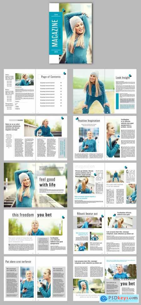 Magazine Layout with Teal Accents 267148417
