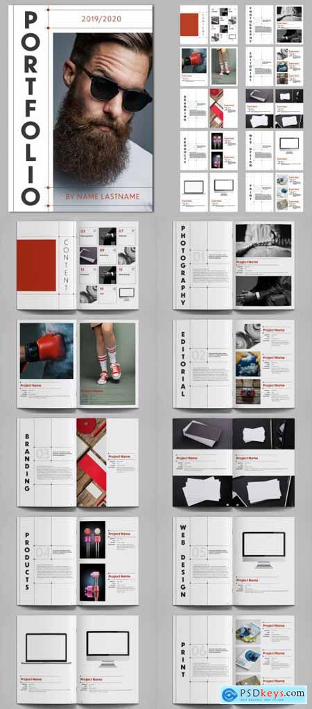 Portfolio Layout Design with Red Accents 264646864