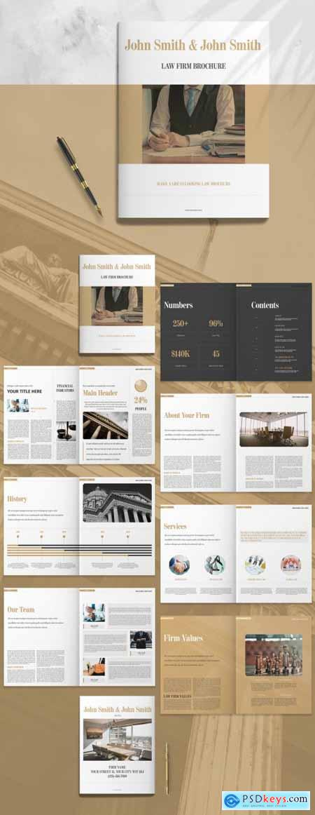 Law Firm Booklet Layout with Brown Accents 260785595