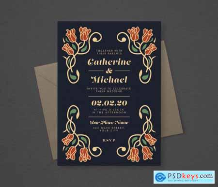 Floral Wedding Invitation Layout 315113413