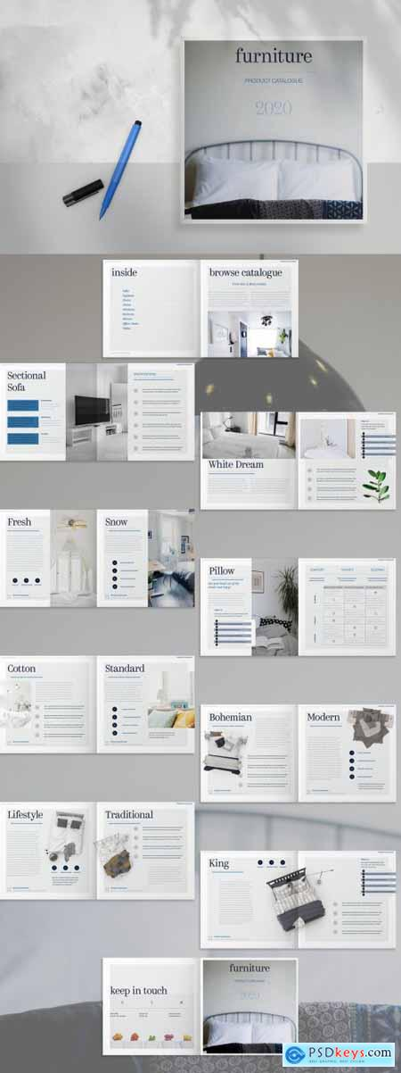 Gray and White Square Catalog with Blue Accents 259374763