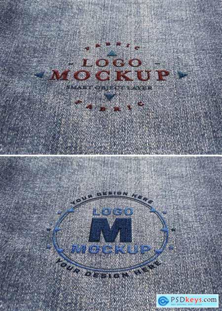 Logo Mockup Stitched on Denim Fabric 315397189