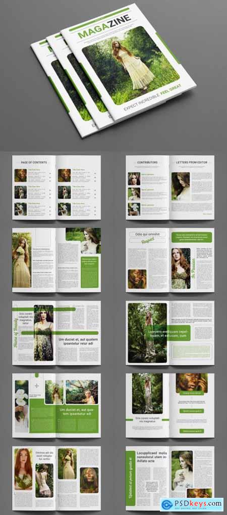 Magazine Layout with Green Accents 260582859