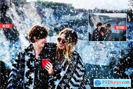 Soft Snowfall Photoshop Action 4387353