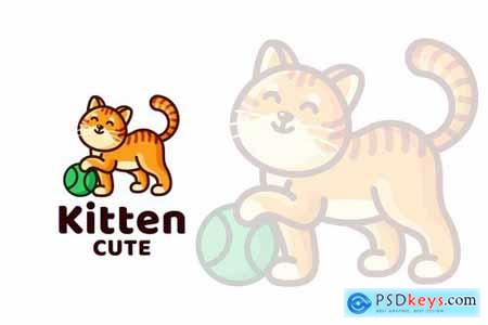 Kitten Cute Kids Logo Template