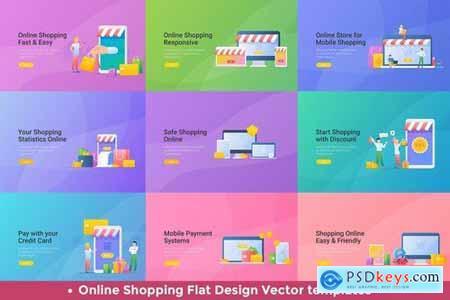 Mobile Shopping Online Vector Design Templates