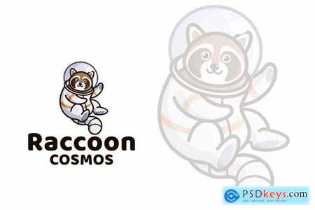 Raccoon Cosmos Cute Kids Logo Template
