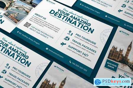 Travel A5 Business Flyer DL Rackcard Flyer and Poster PSD Templates