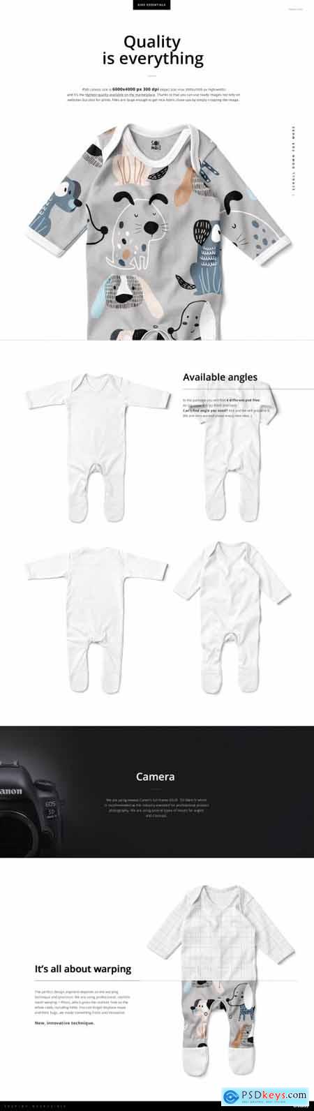 Baby Chest Rompersuit Mockup Set 4434711
