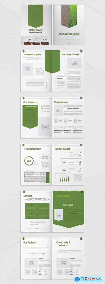 Brochure Layout with Green Elements 293428485