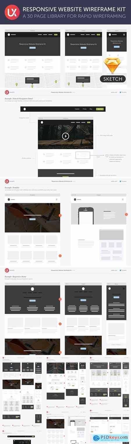 Responsive Website Wireframe Kit 217033
