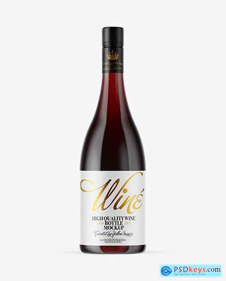 Clear Glass Red Wine Bottle Mockup 53817