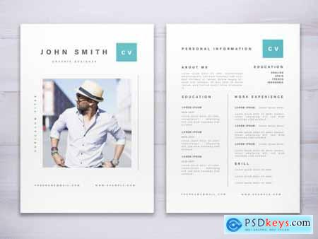 Resume Layout with Teal Accents 315945006