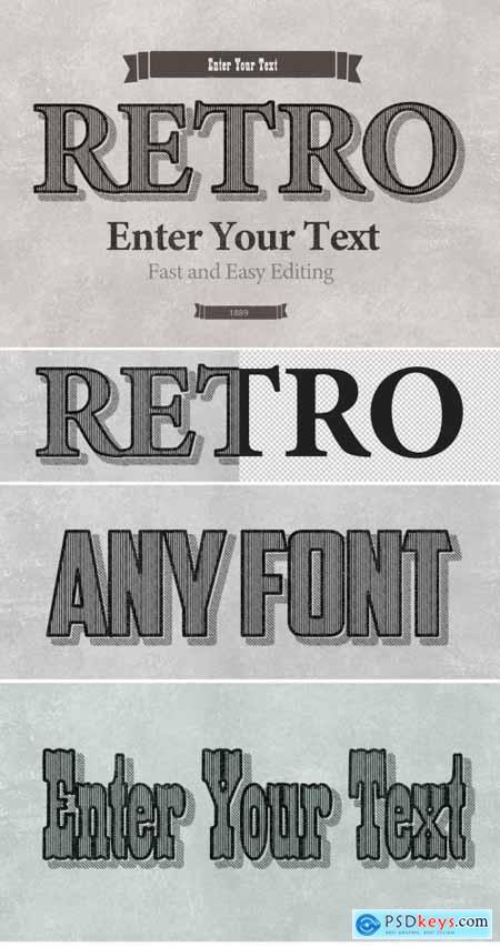 Retro Striped Shadow Print Text Effect Mockup 316244600
