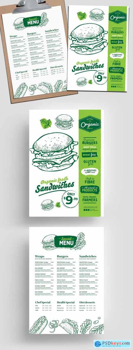 Sandwich Burger Menu Layout with Healthy Organic Theme 315968408