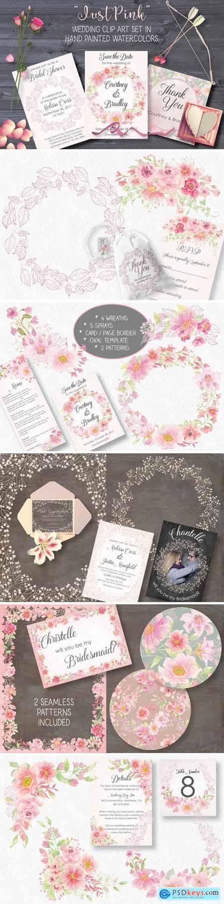 Just Pink Wedding Clip Art Set