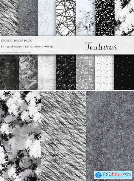 Black White Textures Digital Papers
